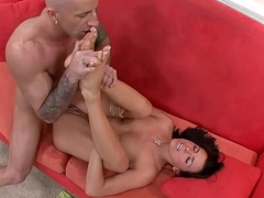 Wild fuck &amp_ huge loads of cum on Danice Dillan'_s feet