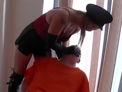 Leather clad smoking mistress domination