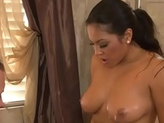 Busty asian masseuse wanking cokc after bath