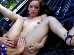 Wild ass fuck on the hood of tit for tat with loads of cum to sweet mouth
