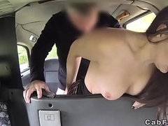 Amateur in boots bangs in fake taxi