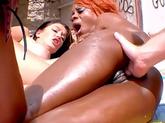 Hardcore anal foursome in public with black redhead &amp_ horny brunette