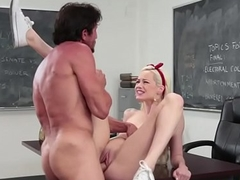 Gorgeous schoolgirl guzzles a load of cum
