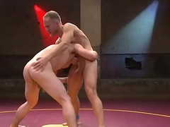 Wrestling stud gaping asshole for his sub