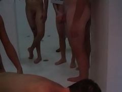 Straight college teen doggystyled in shower