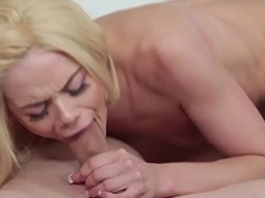 Petite beauty blowing and riding lucky dick