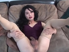 Auditioning ladyboy tugging her cock solo