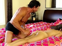 Massage babe covered with hot jizz