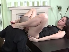 Footjob slut sucking cock