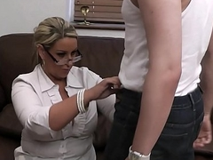 Busty woman close to uniform rides his dick at work