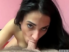 Tiny brunette Violet Ambiance is going down on a stiff dick
