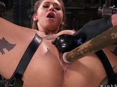 Blonde sub in straps bondage toyed