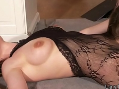 Sexy wife in lingerie bangs in office