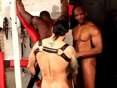 Muscular black stud rimmed and blown close by trio