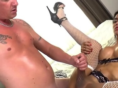 Busty ladyboy in highheels gets assfucked